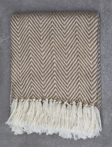 Beige Herringbone Blanket