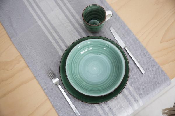 Grey French Stripe Table Runner