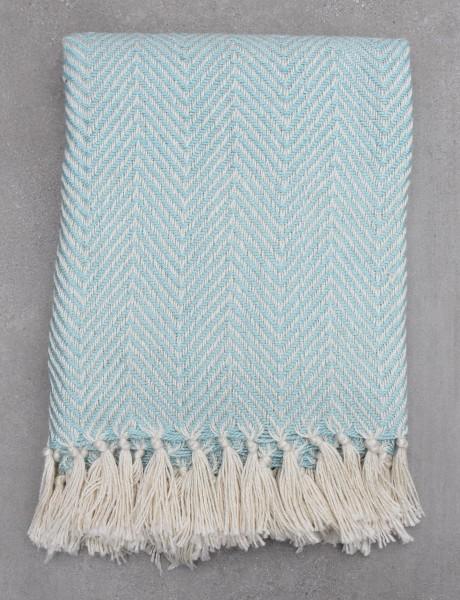 Eggshell Blue Herringbone Blanket