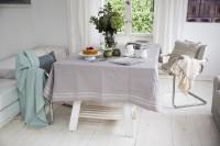 Grey Gingham Border Tablecloth