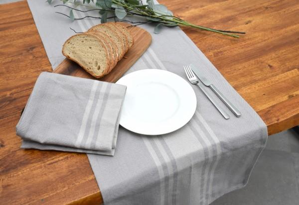 Grauer Tischläufer mit französischem Streifen