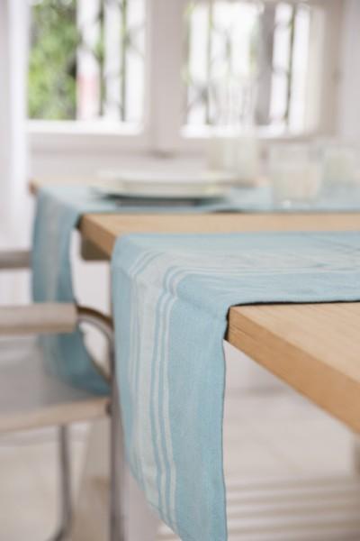 Eggshell Blue French Stripe Table Runner