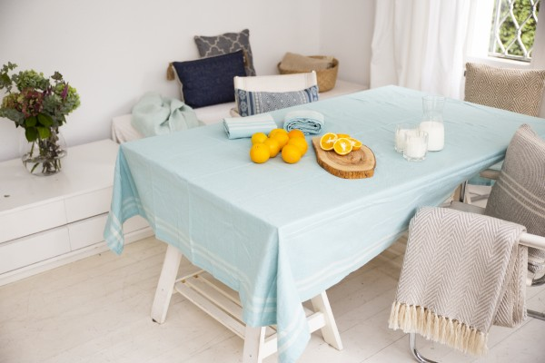 Eggshell Blue Gingham Border Tablecloth
